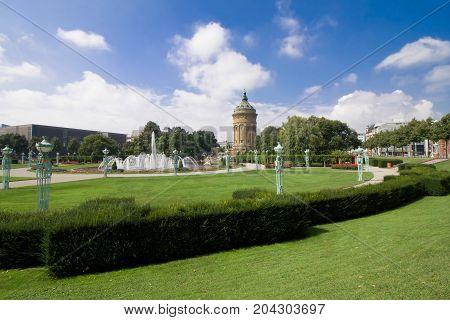 Fountains At Friedrichsplatz With Mannheim Water Tower