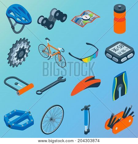 Vector set of bicycle parts isolated isometric icons. Bicycle objects and design elements. Bike repair gears. Stars, wheels, helmet, seat.