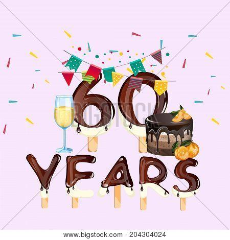 60 years happy birthday card. Vector illustration