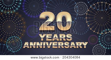 20 years anniversary vector icon logo. Graphic design element with golden 3D numbers for 20th anniversary decoration