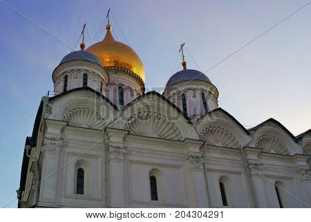 Archangels church of Moscow Kremlin. UNESCO World Heritage Site. Color photo. Blue sky background.