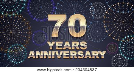 70 years anniversary vector icon logo. Graphic design element with golden 3D numbers for 70th anniversary decoration