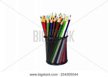 Color Pencils In Black Case On White Background Isolated