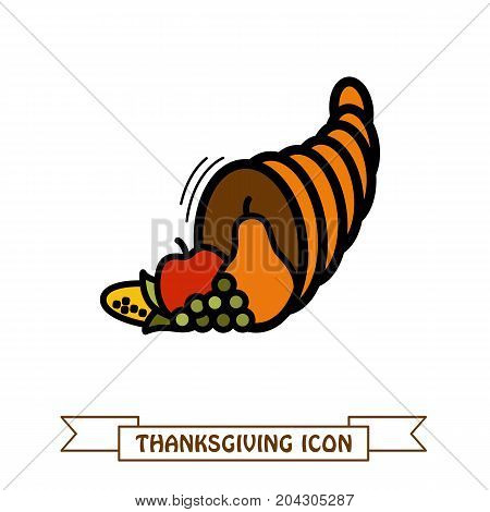Autumn cornucopia horn of plenty icon. Harvest. Thanksgiving vector illustration eps 10