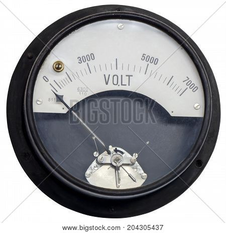 Old vintage ancient voltmeter isolated on white background