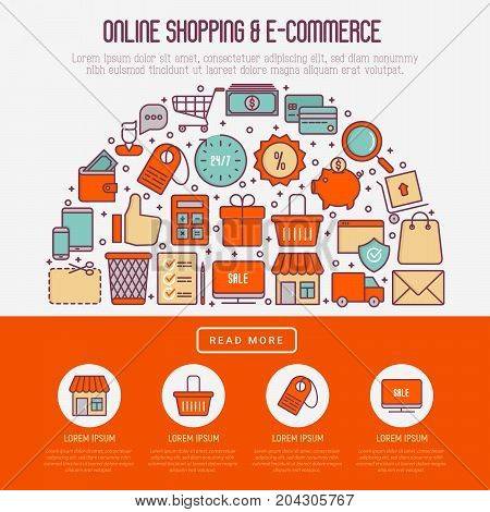 E-commerce, shopping concept in half circle with thin line icons: shopping cart, payment method, delivery, sale. Vector illustration for background of banner, web page, print media with place for text.