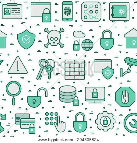 Security and protection seamless pattern with thin line icons: data, surveillance camera, finger print, electronic key, password, alarm, safe. Vector illustration for banner, web page, print media.