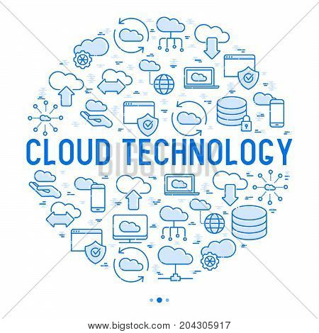 Cloud computing technology concept in circle with thin line icons related to hosting, server storage, cloud management, data security, mobile and desktop memory. Vector illustration.