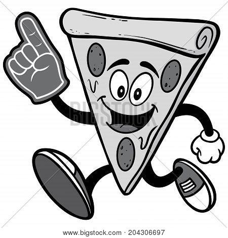 A vector illustration of a cartoon Pizza.