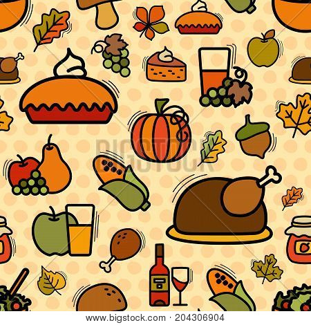Seamless thanksgiving pattern motif can be used in textiles for book design website background