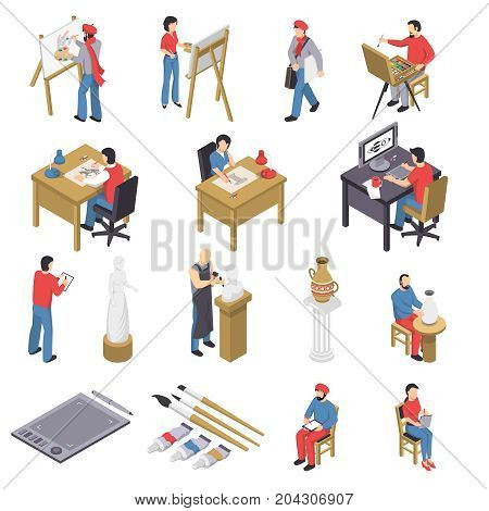 Isometric set of artists with accessories near easels, sculpture, pottery, behind table and computer isolated vector illustration