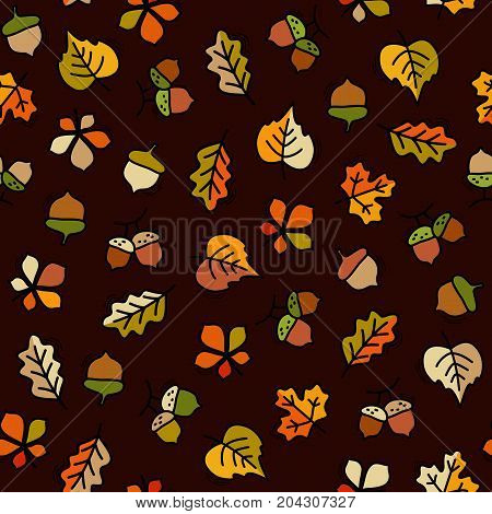 Seamless pattern with Leaves and Acorn motif can be used in textiles for book design website background