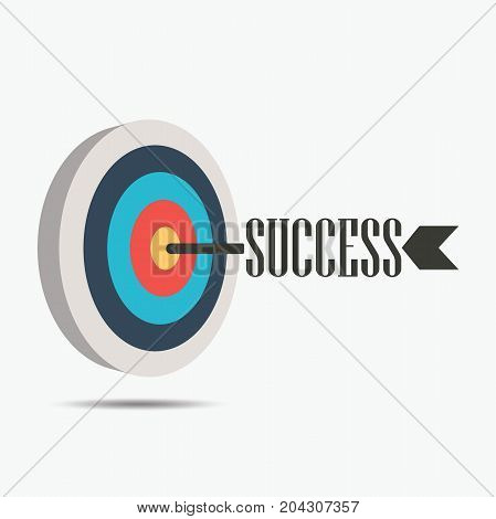 Archery Target with success arrow, icon success business strategy concept, Vector illustration isolated on white background