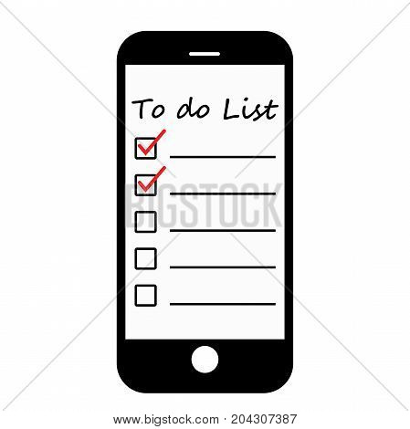 To do list with red mark in smartphone, Vector illustration isolated on white background