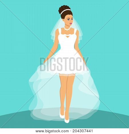 Bride. Wedding card with the bride on a blue background. Bride in wedding dress with a bouquet. Clothing. Vector illustration.