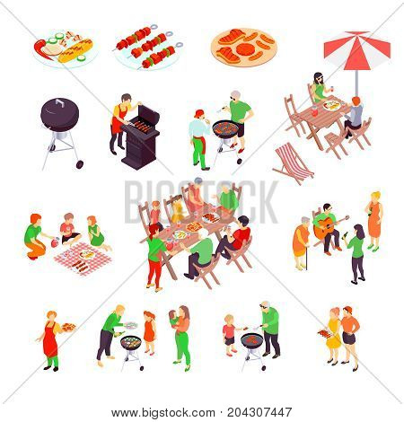 Family barbecue picnic isometric icons set with pizza  bbq charcoal grill and beef kebab skewers isolated vector illustration