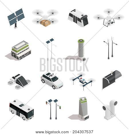 Smart city isometric icons collection with ecological energy sources unmanned vehicles and air purification technology isolated vector illustration
