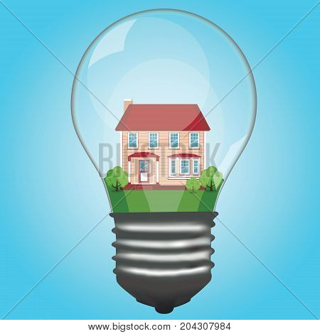 The house is in a lamp. Light bulb. Modern cottage. House. The property. Vector illustration