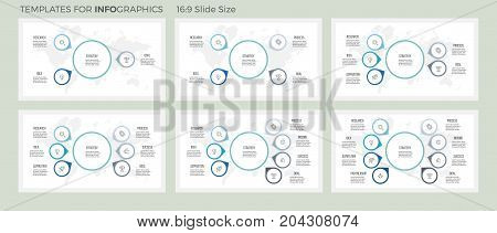 Business infographics. Organization charts with 3, 4, 5, 6, 7, 8 options, arrows. Vector templates.