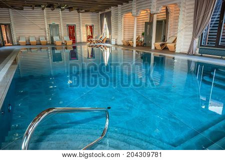 Luxurious indoors swimming pool in spa center