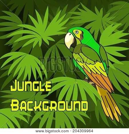 Tropical Landscape, Parrot on Green Leaves Exotic Plants. Vector