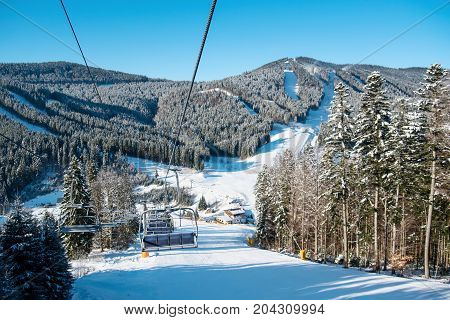 View From Ski-lift At Winter Ski Resort With An Ideal Landscape Of Snow-covered Mountains, Forests A