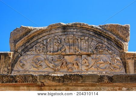 Close-up reliefs on temple of Hadrian in Ephesus, Turkey