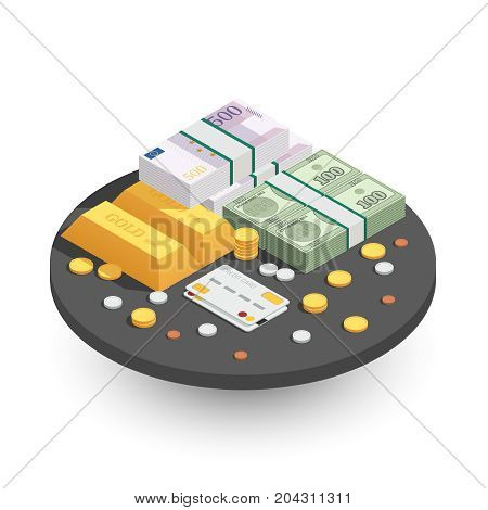Payment methods round isometric composition with gold bars cash coins green banknotes and credit bankcard vector illustration