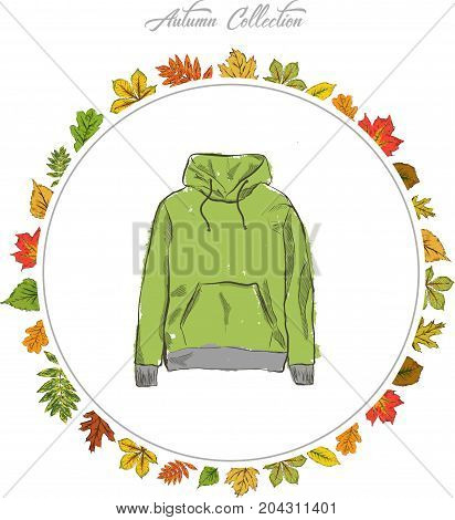 Hoody Hand draw clothes. Autumn collection. Frame of autumn leaves. Vector illustration.