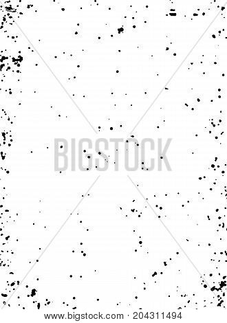 Grunge black and white vector texture. Hand drawn frame template. Old paper. Dark spot substrate for your design. Dust, scretches, stamp texture. Easy to use abstract vintage effect with noise and grain. Vector.