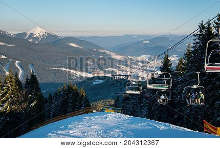 Stunning Winter Landscape At Ski Resort Bukovel In The Carpathians Mountains Copyspace People Riding