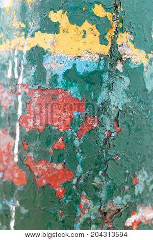 abstract background of green painted concrete wall