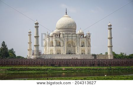 Taj Mahal At Sunny Day In Agra, India