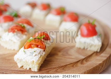 Canape With Cottage Cheese, Basil And Tomato