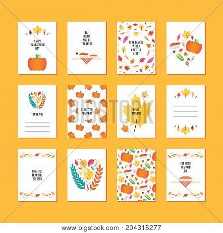 Big vector set of Thanksgiving greeting cards, made in simple flat style. Colorful posters, party invitations
