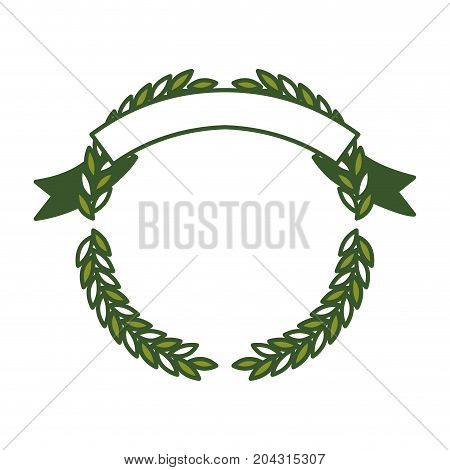 green olive branches forming a circle with ribbon on top vector illustration