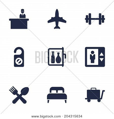Collection Of Airplane, Check In, Cafe And Other Elements.  Set Of 9 Hotel Icons Set.