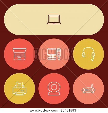Collection Of PC, Notebook, Laptop And Other Elements.  Set Of 7 Laptop Outline Icons Set.