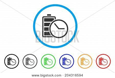 Battery Clock icon. Vector illustration style is a flat iconic battery clock gray rounded symbol inside light blue circle with black, gray, green, blue, red, orange color additional versions.
