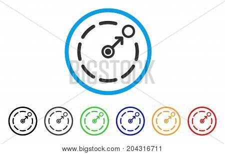 Circular Area Border icon. Vector illustration style is a flat iconic circular area border grey rounded symbol inside light blue circle with black, gray, green, blue, red, orange color versions.