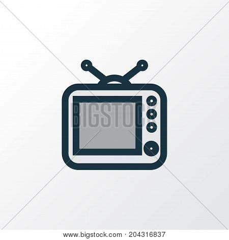 Premium Quality Isolated Television Element In Trendy Style.  Tv Colorful Outline Symbol.