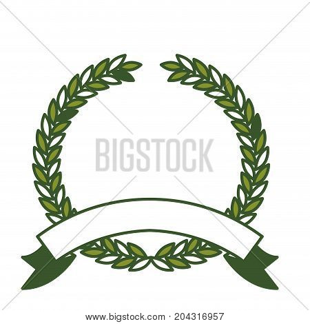 olive branch green crown and ribbon on bottom in closeup vector illustration