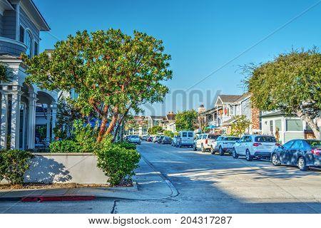 Empty street in Balboa Island Newport beach. California USA
