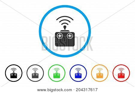 Radio Control Device icon. Vector illustration style is a flat iconic radio control device grey rounded symbol inside light blue circle with black, gray, green, blue, red,