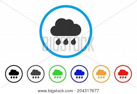 Rain Weather icon. Vector illustration style is a flat iconic rain weather gray rounded symbol inside light blue circle with black, gray, green, blue, red, orange color versions.