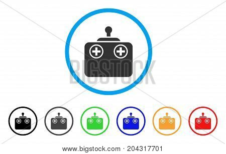 Remote Control Device icon. Vector illustration style is a flat iconic remote control device grey rounded symbol inside light blue circle with black, gray, green, blue, red,