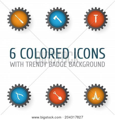 Tools Icons Set. Collection Of Digging, Turn-Screw, Round Pliers And Other Elements