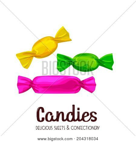 Candy caramel and sugar candies vector cartoon style illustration.