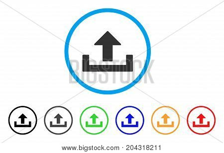 Upload Container icon. Vector illustration style is a flat iconic upload container gray rounded symbol inside light blue circle with black, gray, green, blue, red, orange color versions.