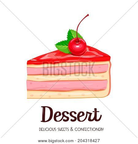 Vector cake icon. Piece of yoghurt dessert confectionery with berries cherry.